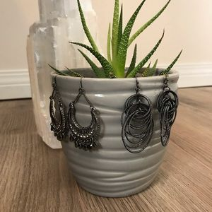 Jewelry - 2 pairs of dark silver tone earrings